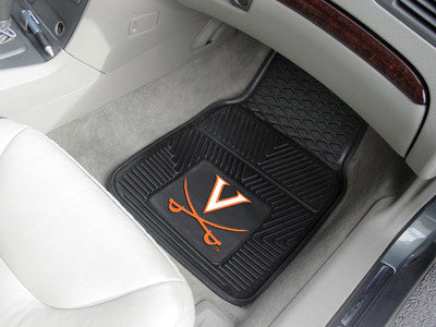 "NCAA Officially licensed University of Virginia 2-pc Vinyl Car Mat Set 17""x27"" Add style to your ride with heavy duty Vinyl"