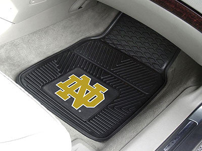 "NCAA Officially licensed Notre Dame 2-pc Vinyl Car Mat Set 17""x27"" Add style to your ride with heavy duty Vinyl Car Mats fro"