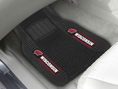"NCAA Officially licensed University of Wisconsin Deluxe Mat 21""x27"" Deluxe Car Mats are perfect for anyone who is serious ab"