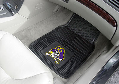 "NCAA Officially licensed East Carolina University 2-pc Vinyl Car Mat Set 17""x27"" Add style to your ride with heavy duty Viny"