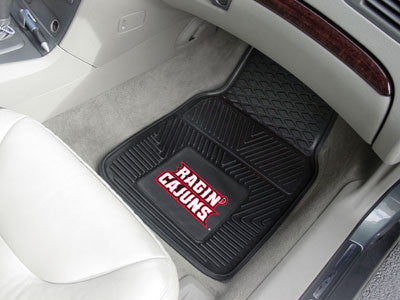 "NCAA Officially licensed University of Louisiana-Lafayette 2-pc Vinyl Car Mat Set 17""x27"" Add style to your ride with heavy"