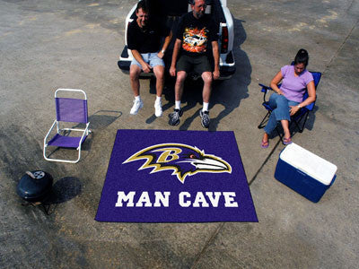 NFL Officially licensed products Baltimore Ravens Man Cave Tailgater Rug 5'x6' Celebrate your fandom with a Man Cave mat fro