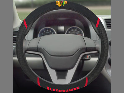 "NHL Officially licensed products Chicago Blackhawks Steering Wheel Cover 15""x15"" Show off your team pride and transform your"