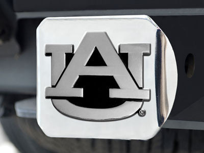 "NCAA Officially licensed Auburn University Hitch Cover - Chrome 3.4""x4"" Keep your hitch clear of debris and let everyone see"