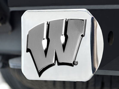 "NCAA Officially licensed University of Wisconsin Hitch Cover - Chrome 3.4""x4"" Keep your hitch clear of debris and let everyo"