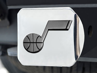 "NBA Officially licensed products Utah Jazz Chrome Hitch Cover 4 1/2""x3 3/8"" Keep your hitch clear of debris and let everyone"