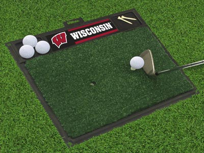 "NCAA Officially licensed University of Wisconsin Golf Hitting Mat 20"" x 17"" Work on your backswing while showing off your te"