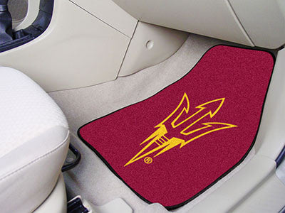 "NCAA Officially licensed Arizona State University 2-pc Carpet Car Mat Set 17""x27"" Show your fandom even while driving with C"