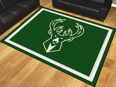 NBA Officially licensed products Milwaukee Bucks 8'x10' Rug Show off your team pride in a big way! 8'x10' ultra plush area r