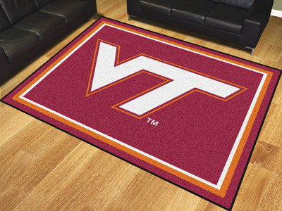 "NCAA Officially licensed Virginia Tech 8x10 Rug 87""x117"" Show off your team pride in a big way! 8'x10' ultra plush area rugs"