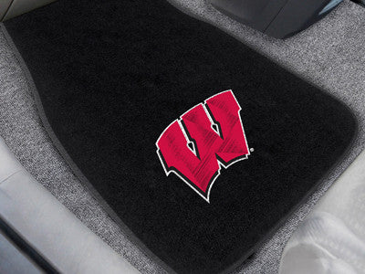"NCAA Officially licensed University of Wisconsin 2-pc Embroidered Car Mat Set 17""x25.5"" Protect the interior of your vehicle"