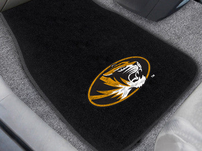 "NCAA Officially licensed University of Missouri 2-pc Embroidered Car Mat Set 17""x25.5"" Protect the interior of your vehicle"