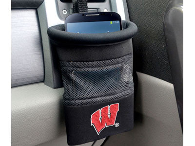 "NCAA Officially licensed University of Wisconsin Car Caddy 5""x4.5"" Keep important items at arm?s length while diving with an"