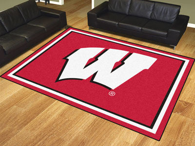 "NCAA Officially licensed University of Wisconsin 8x10 Rug 87""x117"" Show off your team pride in a big way! 8'x10' ultra plush"