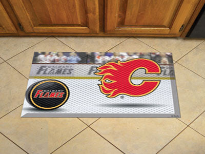 "NHL Officially licensed products Calgary Flames Scraper Mat 19""x30"" - Puck Scraper Mats by Sports Licensing Solutions are gr"
