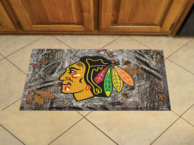 "NHL Officially licensed products Chicago Blackhawks Scraper Mat 19""x30"" - Camo Scraper Mats by Sports Licensing Solutions ar"