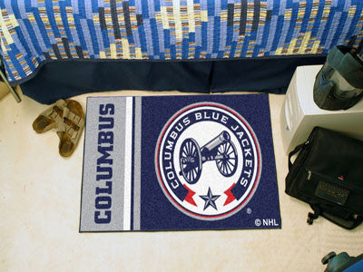 "NHL Officially licensed products Columbus Blue Jackets Uniform Starter Rug 19""x30"" Start showing off your team pride at home"