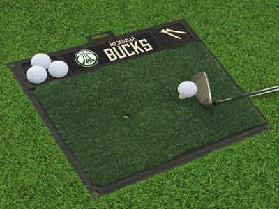 "NBA Officially licensed products Milwaukee Bucks Golf Hitting Mat 20"" x 17"" Work on your backswing while showing off your te"