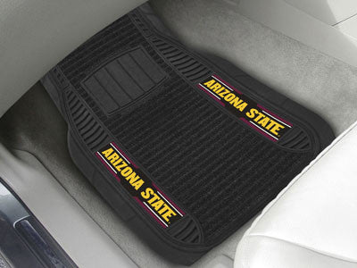 "NCAA Officially licensed Arizona State University Deluxe Mat 21""x27"" Deluxe Car Mats are perfect for anyone who is serious a"