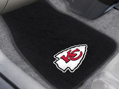 "NFL Officially licensed products Kansas City Chiefs 2-pc Embroidered Car Mats 18""x27"" Protect the interior of your vehicle w"