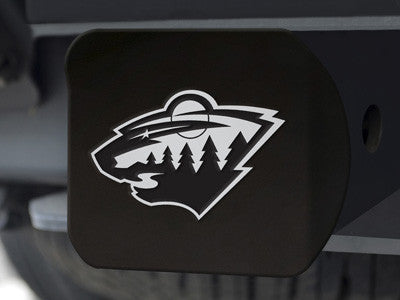"NHL Officially licensed products Minnesota Wild Black Hitch Cover 4 1/2""x3 3/8"" Keep your hitch clear of debris and let ever"