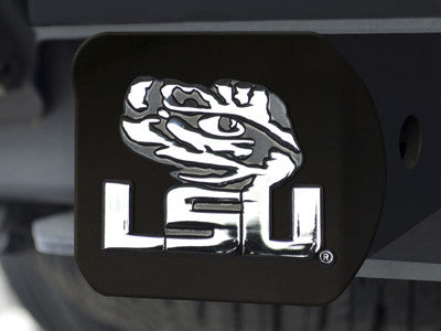 "NCAA Officially licensed Louisiana State University Hitch Cover - Black 3.4""x4"" Keep your hitch clear of debris and let ever"