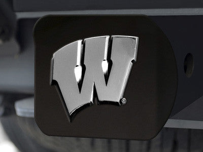 "NCAA Officially licensed University of Wisconsin Hitch Cover - Black 3.4""x4"" Keep your hitch clear of debris and let everyon"