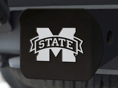 "NCAA Officially licensed Mississippi State University Hitch Cover - Black 3.4""x4"" Keep your hitch clear of debris and let ev"