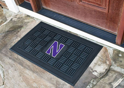"NCAA Officially licensed Northwestern University Medallion Door Mat 19.5""x31.25"" Make a great first impression when guests c"