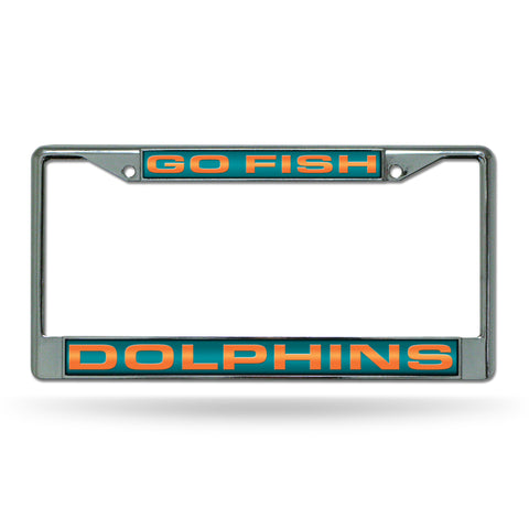 "DOLPHINS ""GO FISH"" LASER CHROME FRAME"