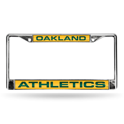 ATHLETICS LASER CHROME FRAME  - YELLOW BACKGROUND WITH DARK GREEN LETTERS