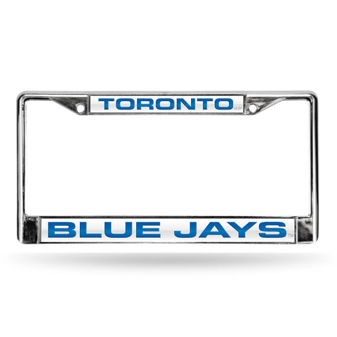 BLUE JAYS LASER CHROME FRAME  - WHITE BACKGROUND WITH ROYAL LETTERS