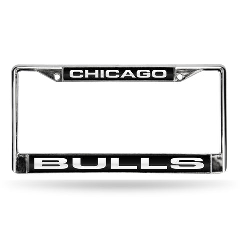 BULLS LASER CHROME FRAME  - BLACK BACKGROUND WITH WHITE LETTERS