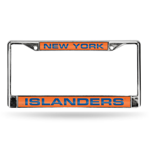 ISLANDERS LASER CHROME FRAME - ORANGE BACKGROUND WITH ROYAL LETTERS