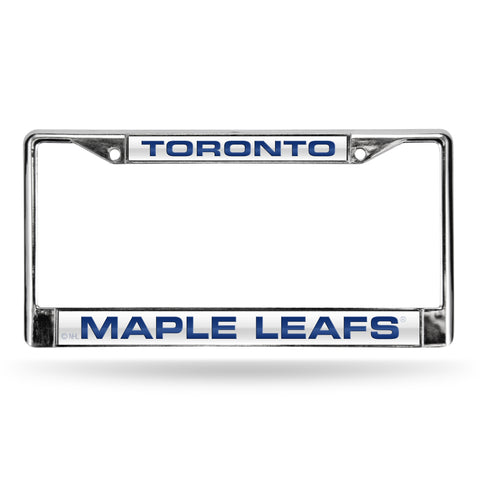 MAPLE LEAFS LASER CHROME FRAME - WHITE BACKGROUND WITH ROYAL BLUE LETTERS