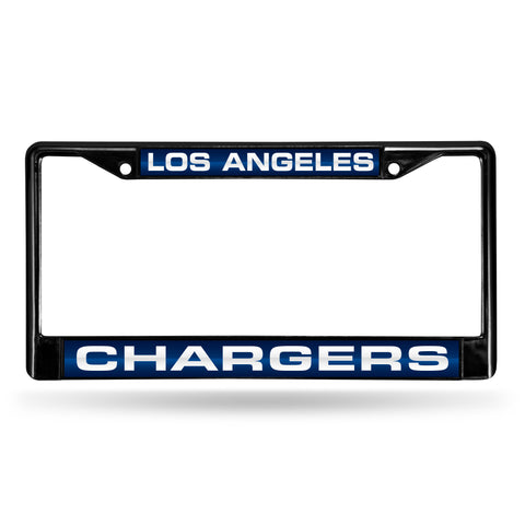 LOS ANGELES CHARGERS BLACK LASER CHROME FRAME
