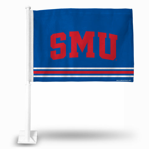 SOUTHERN METHODIST FG CAR FLAG (WHITE POLE) Version 2