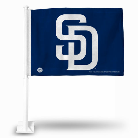"PADRES ""WHITE SD"" BLUE BKG CAR FLAG"