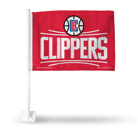 CLIPPERS RED BACKGROUND CAR FLAG 2015