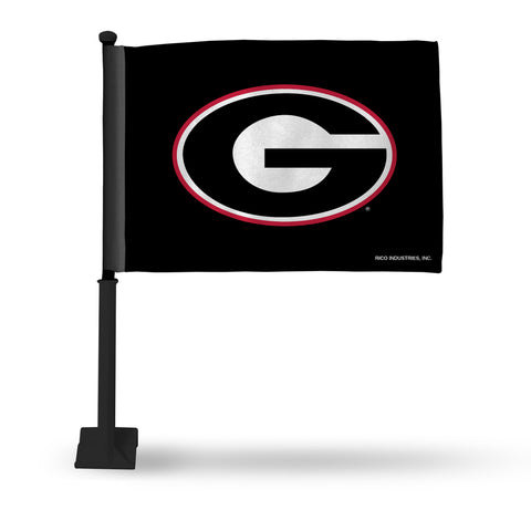 GEORGIA BLACK CAR FLAG - BLACK POLE