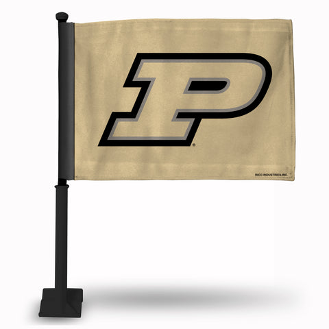 PURDUE CAR FLAG WITH COLORED POLE **** BLACK POLE ****