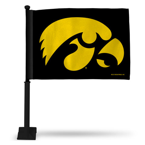 IOWA BLACK CAR FLAG - BLACK POLE
