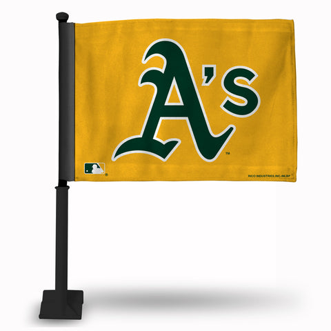OAKLAND A'S CAR FLAG - BLACK POLE