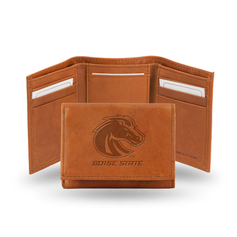 BOISE STATE EMBOSSED LEATHER TRIFOLD