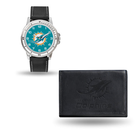 DOLPHINS BLACK WATCH AND WALLET