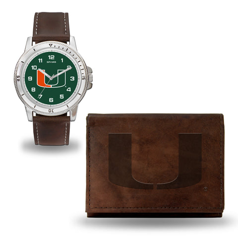 MIAMI BROWN WATCH AND WALLET