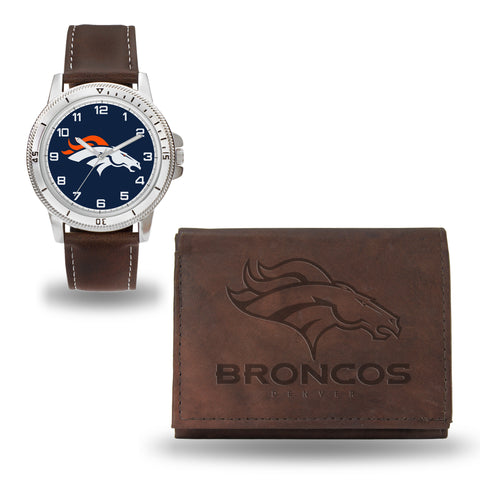 BRONCOS BROWN WATCH AND WALLET