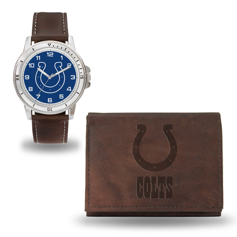 COLTS BROWN WATCH AND WALLET
