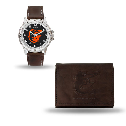 BALTIMORE ORIOLES  BROWN WATCH AND WALLET