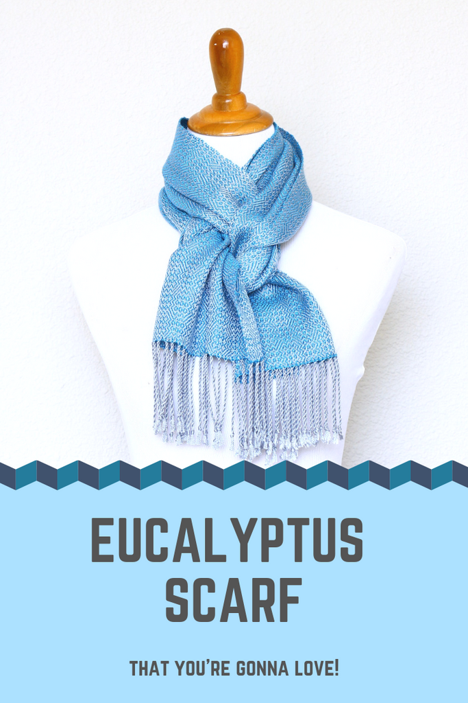 Blue and silver Eucalyptus scarf